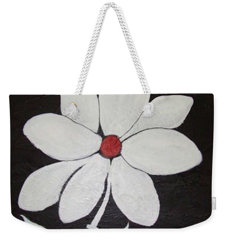 Contemporay Weekender Tote Bag featuring the painting White Flower by Rusty Gladdish