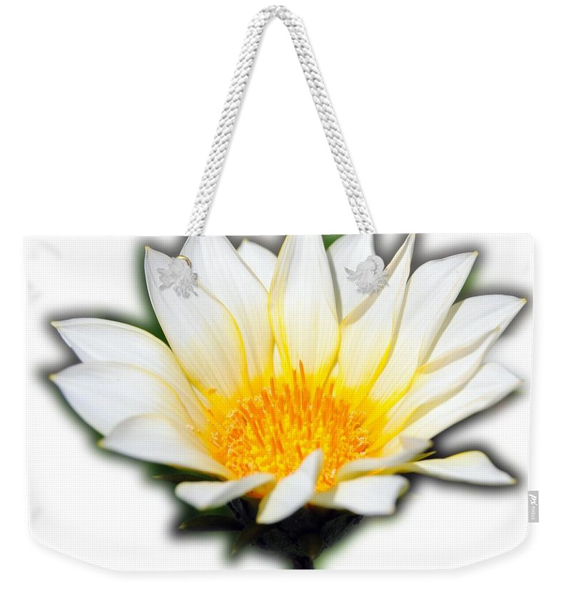 Flower T-shirt Weekender Tote Bag featuring the photograph White Flower T-shirt by Isam Awad