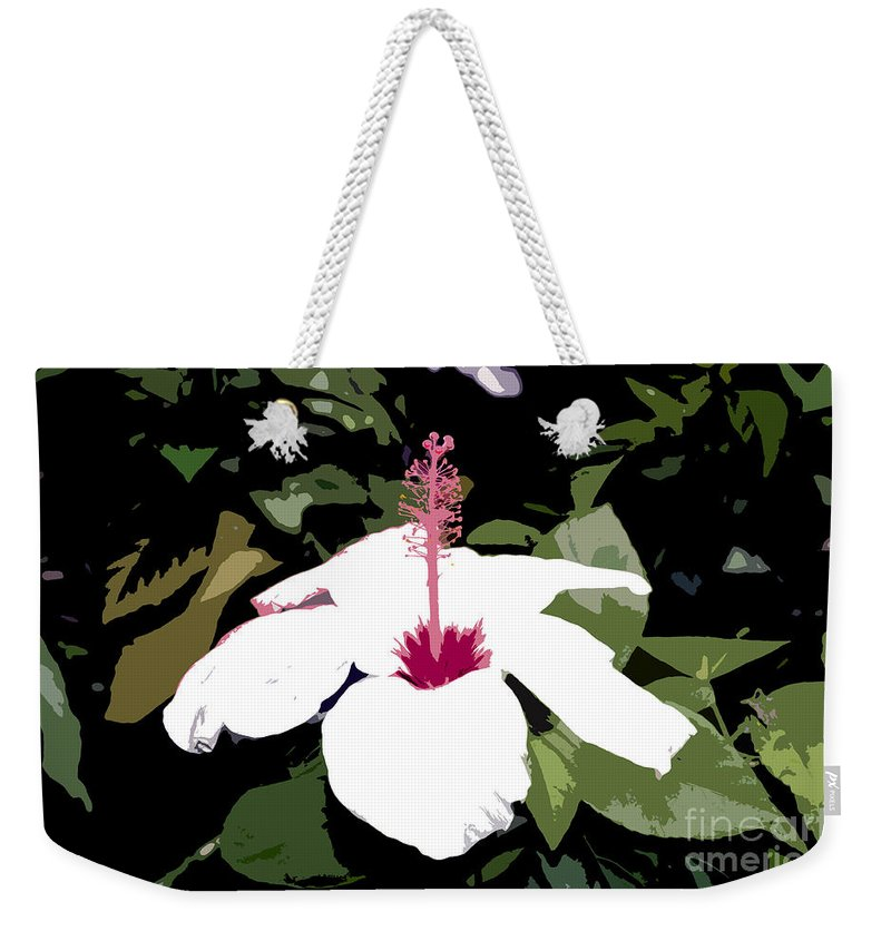 Flower Weekender Tote Bag featuring the photograph White Flower Work Number 4 by David Lee Thompson