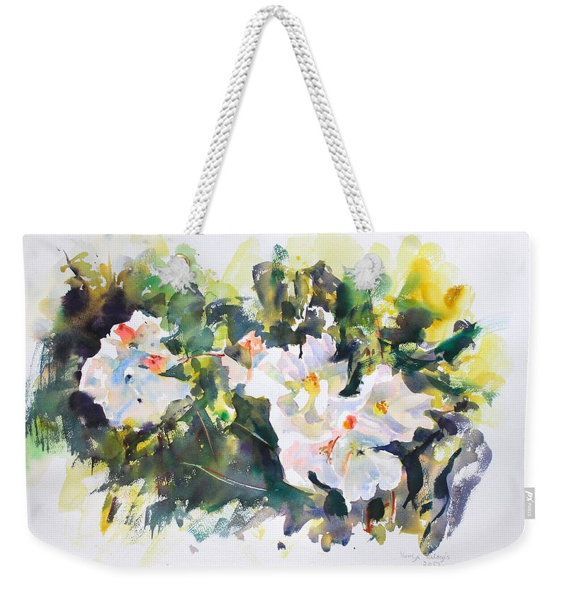White Flowers Weekender Tote Bag featuring the painting White Flowers by Ibolya Taligas