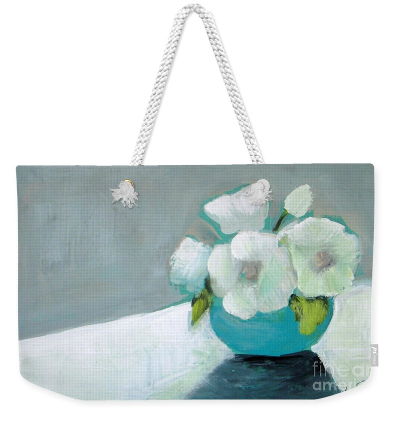 Painting Weekender Tote Bag featuring the painting White Flowers In Blue Vase by Vesna Antic
