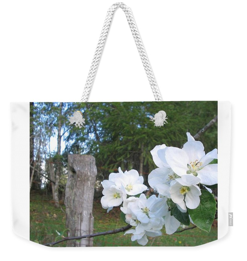 Flowers Weekender Tote Bag featuring the photograph White Flowers by Valerie Josi