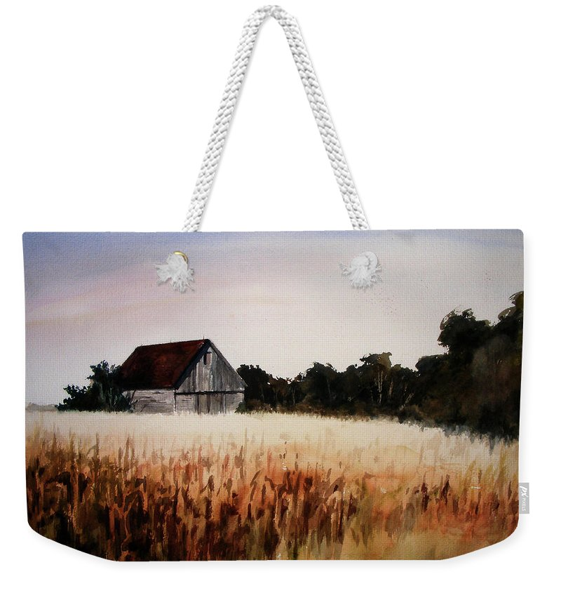 Landscape Weekender Tote Bag featuring the painting White For Harvest by Rachel Christine Nowicki
