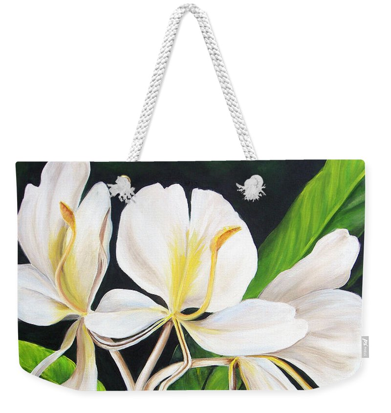 Floral Weekender Tote Bag featuring the painting White Ginger by Dominica Alcantara