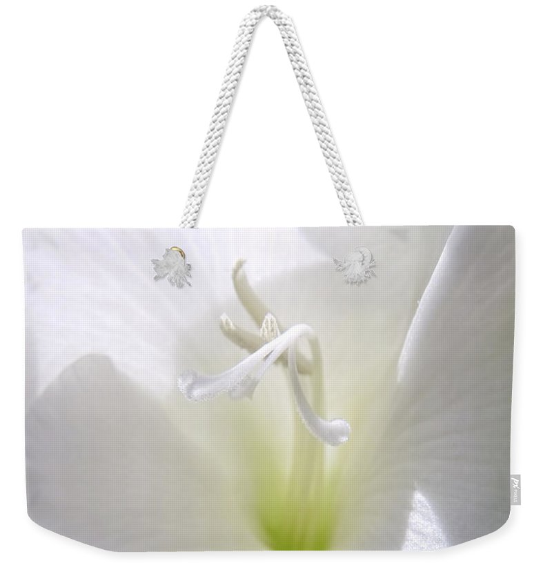 Gladiola Weekender Tote Bag featuring the photograph White Gladiola Flower Macro by Jennie Marie Schell
