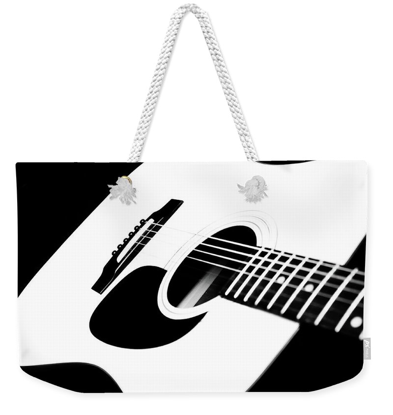 White Guitar Weekender Tote Bag featuring the photograph White Guitar 4 by Andee Design