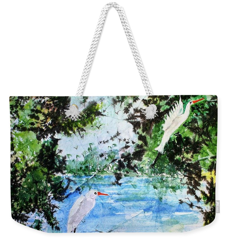Landscape Weekender Tote Bag featuring the painting White Herons by Marilyn Brown