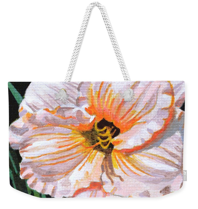 White Weekender Tote Bag featuring the painting White Hibiscus by Christopher Spicer
