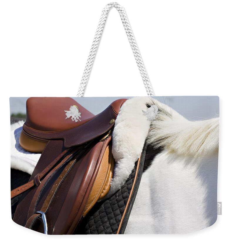 Horse Weekender Tote Bag featuring the photograph White Horse And Saddle by Marilyn Hunt