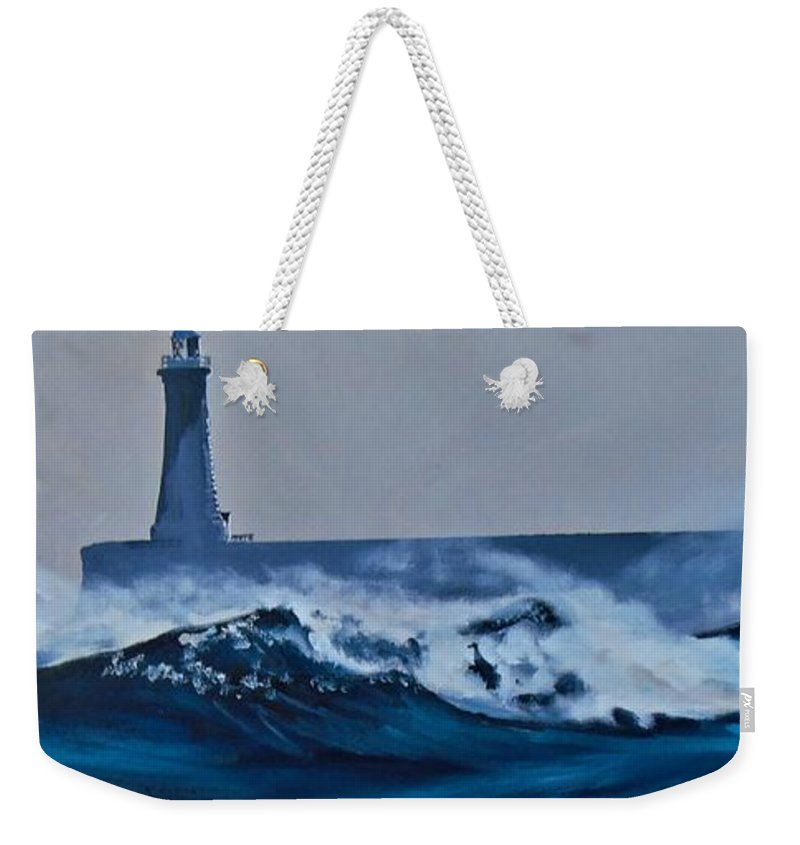 Tynemouth Weekender Tote Bag featuring the painting White Horses by Terence R Rogers
