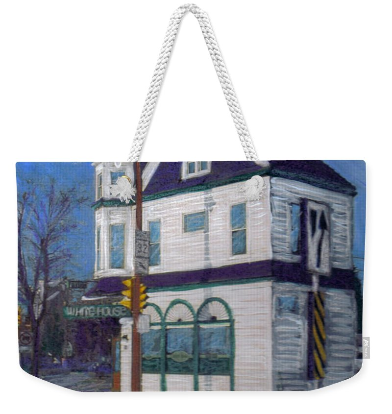 White House Tavern Weekender Tote Bag featuring the mixed media White House Tavern by Anita Burgermeister