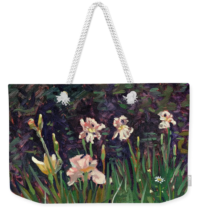Plein Air Weekender Tote Bag featuring the painting White Irises by Donald Maier