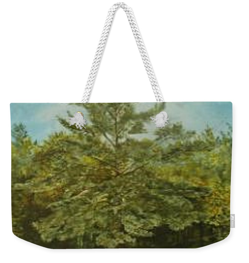 Pine Tree Weekender Tote Bag featuring the painting White Lake by Leah Tomaino