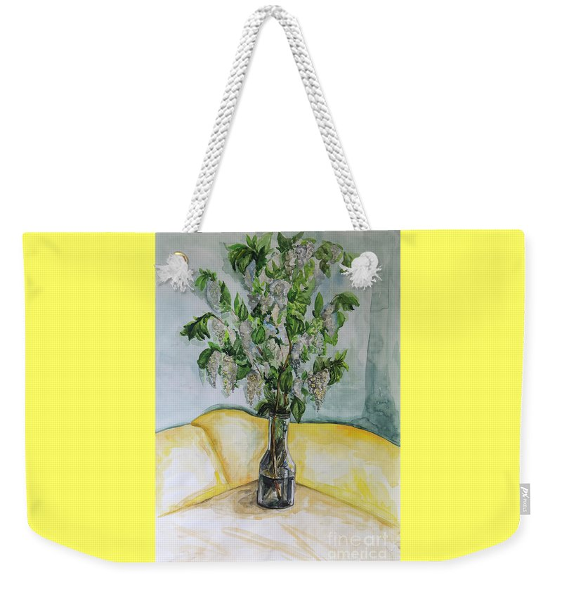 Watercolor Weekender Tote Bag featuring the painting White Lilac by Yana Sadykova