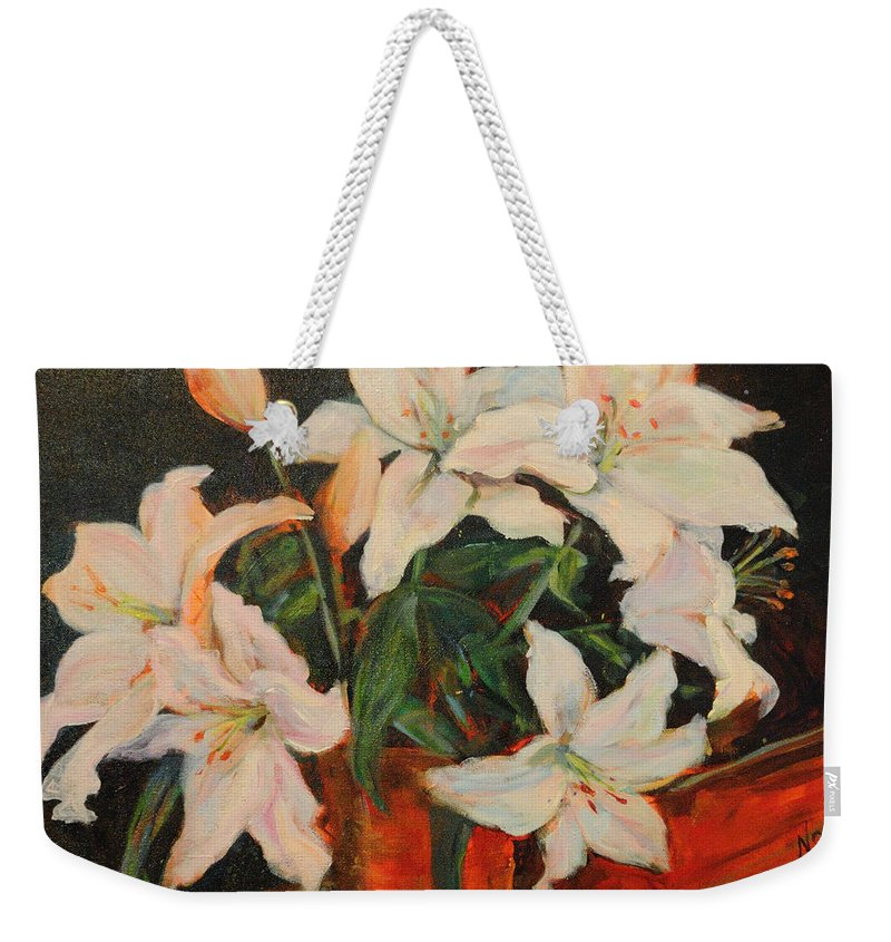 Floral Weekender Tote Bag featuring the painting White Lilies by Nanci Cook