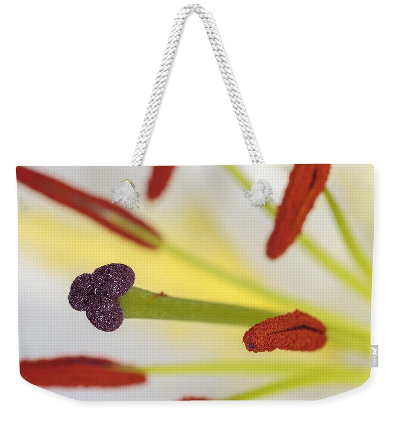 Lily Weekender Tote Bag featuring the photograph White Lily by Chris Smith
