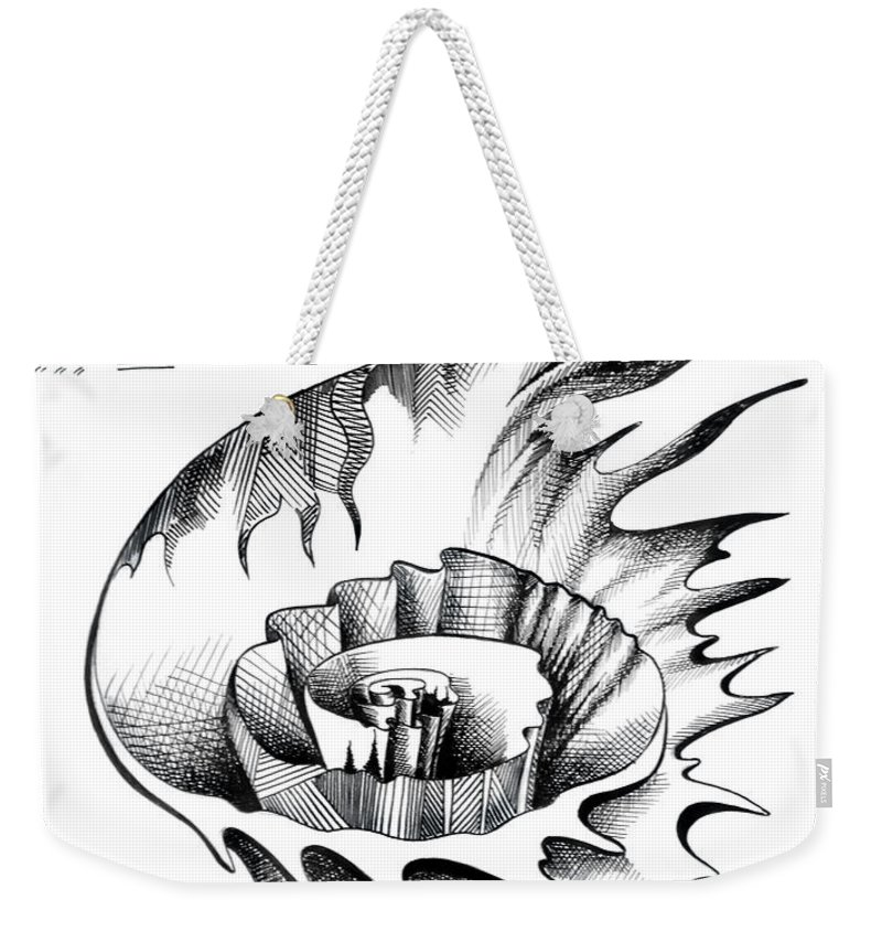 Lily Flower Weekender Tote Bag featuring the drawing White Lily From The Land Of Absurd by Sofia Metal Queen