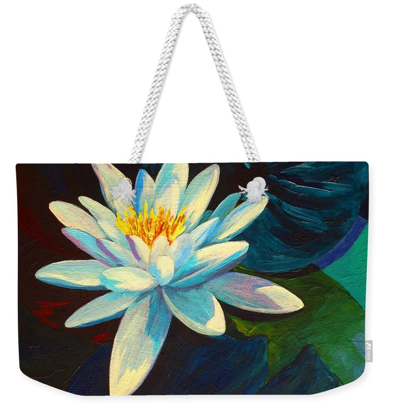 Water Lily Weekender Tote Bag featuring the painting White Lily IIi by Marion Rose
