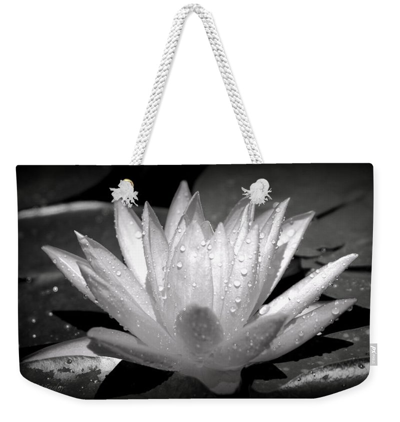 Black Weekender Tote Bag featuring the photograph White Lily by Tina Meador