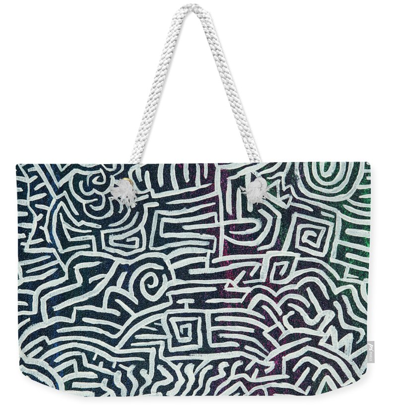 White Weekender Tote Bag featuring the painting White Lines by Joshua Humphries