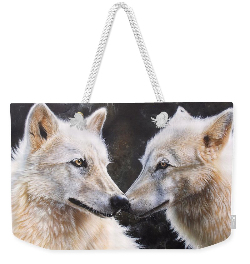 Acrylic Weekender Tote Bag featuring the painting White Magic by Sandi Baker