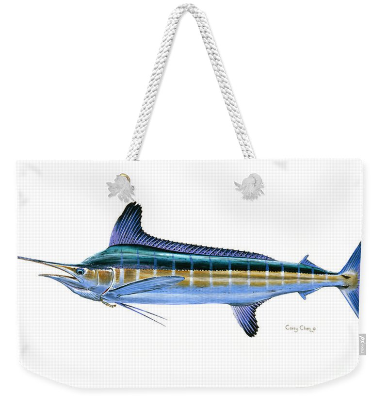 White Marlin Weekender Tote Bag featuring the painting White Marlin by Carey Chen