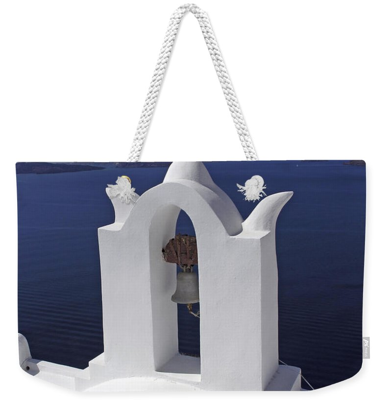 Greek Orthodox Church Weekender Tote Bag featuring the photograph White On Blue by Sally Weigand