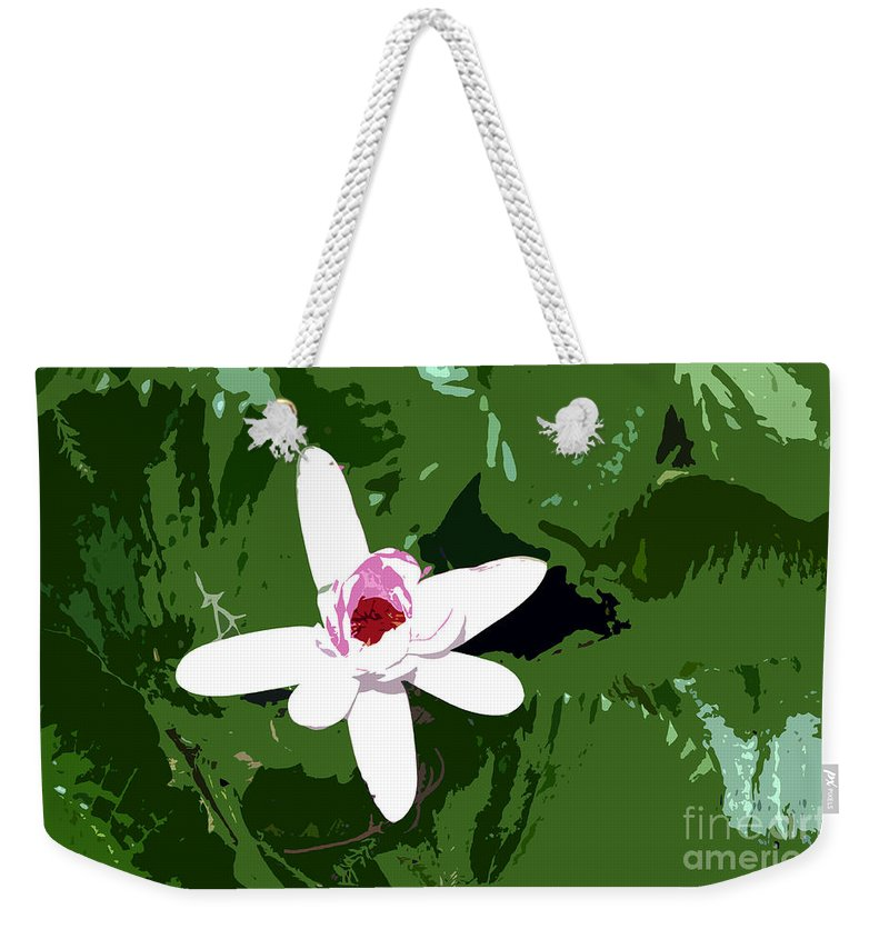 Flower Weekender Tote Bag featuring the photograph White On Green Work Number 7 by David Lee Thompson