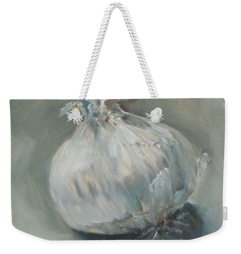 Onion Weekender Tote Bag featuring the painting White Onion No. 1 by Kristine Kainer