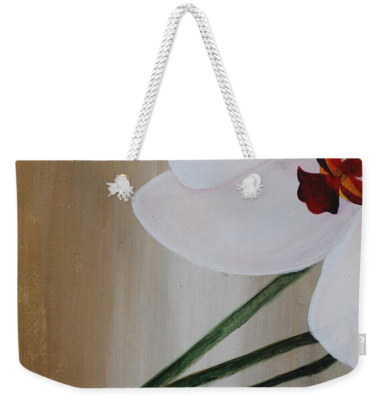 Weekender Tote Bag featuring the painting White Orchid Light Background First Section by Catt Kyriacou