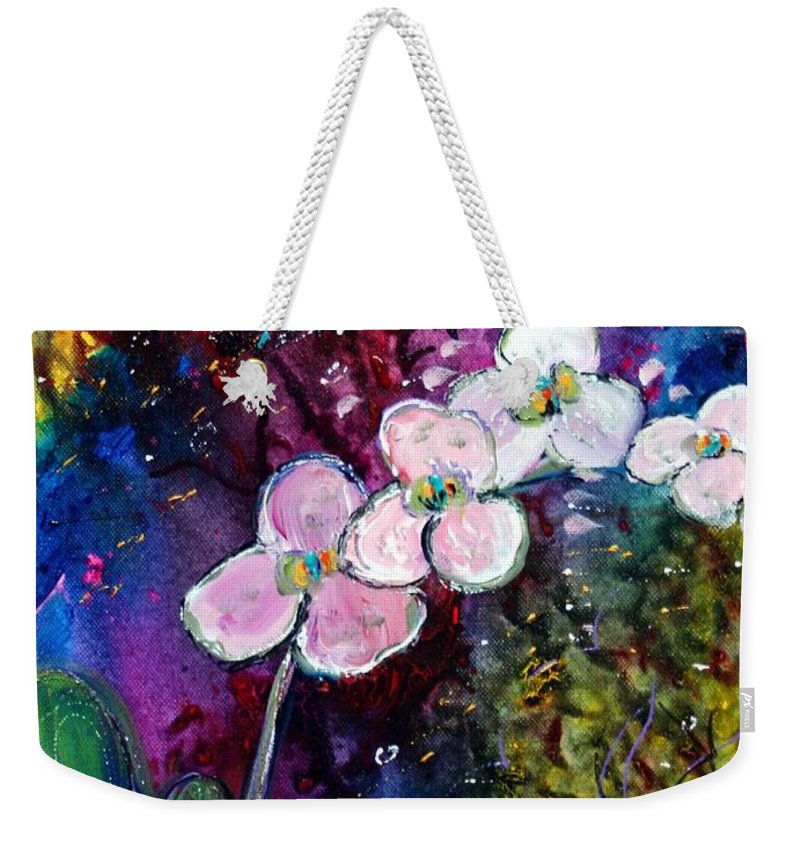 Flowers Weekender Tote Bag featuring the painting White Orchid by Luiza Vizoli