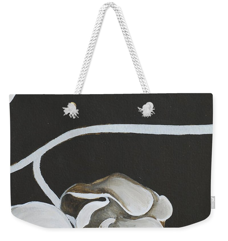 Orchid Weekender Tote Bag featuring the painting White Orchid Third Section by Catt Kyriacou