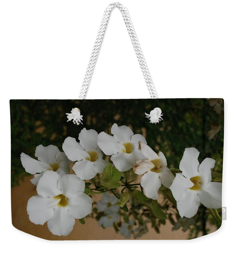 Macro Weekender Tote Bag featuring the photograph White Orchids by Rob Hans