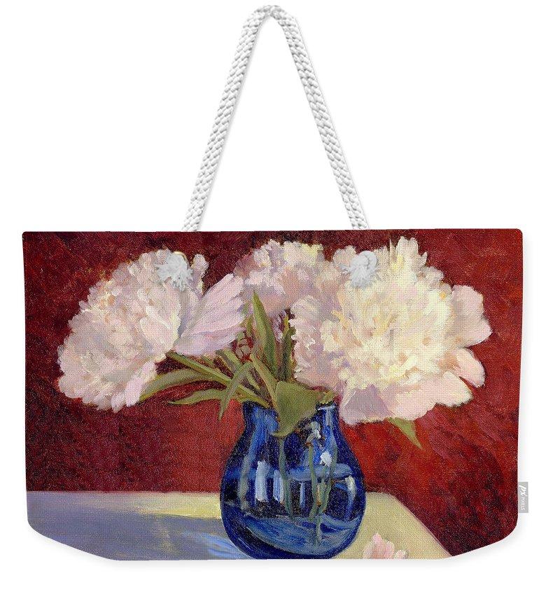 Peonies Weekender Tote Bag featuring the painting White Peonies by Keith Burgess