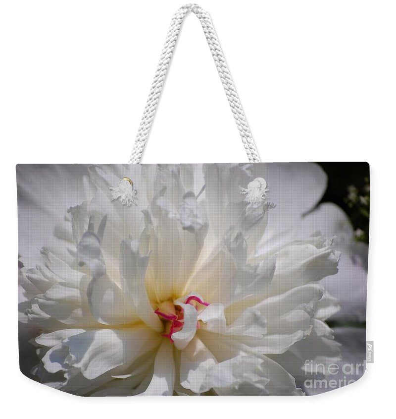 Digital Photography Weekender Tote Bag featuring the photograph White Peony by David Lane