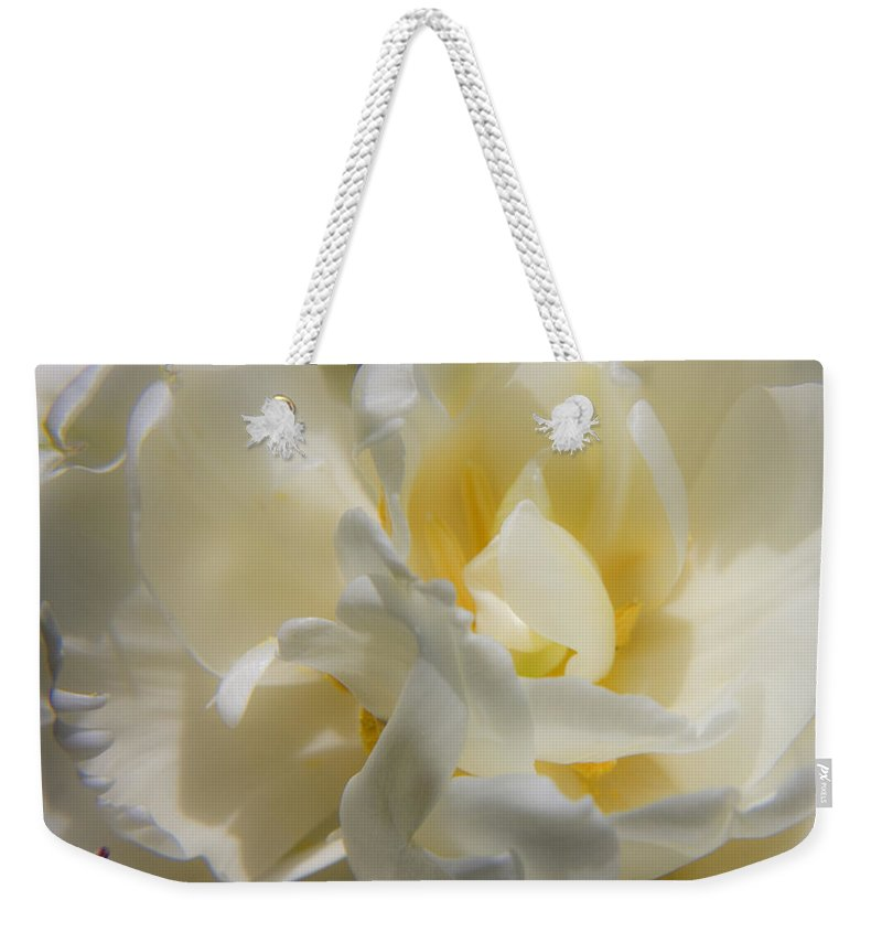 White Weekender Tote Bag featuring the photograph White Peony Tulip Detail by Teresa Mucha