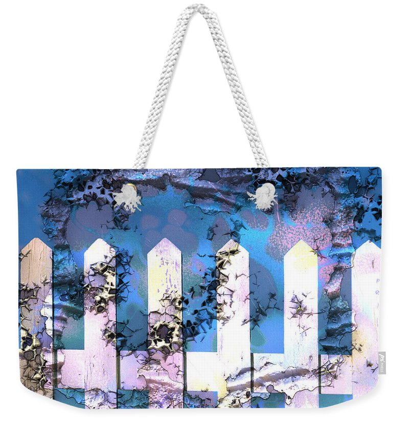 White Fence Weekender Tote Bag featuring the digital art White Picket Fence by Kathy Kelly