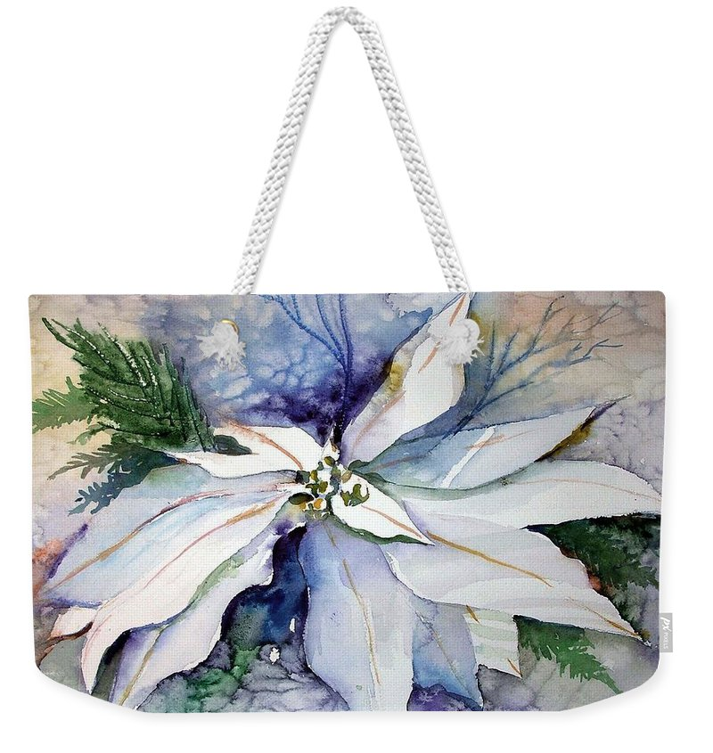 Floral Weekender Tote Bag featuring the painting White Poinsettia by Mindy Newman