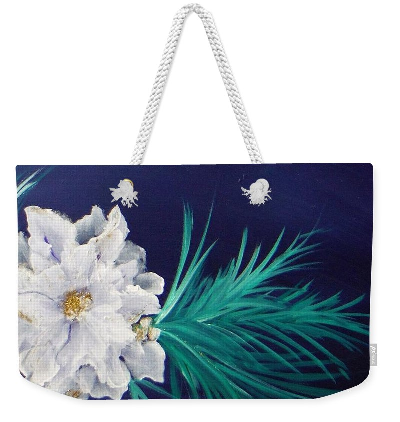 Christmascard Weekender Tote Bag featuring the painting White Poinsettia On Blue by Jacqueline Whitcomb