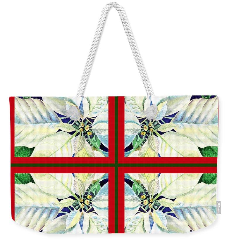 White Poinsettia Weekender Tote Bag featuring the painting White Poinsettia Quartet by Irina Sztukowski