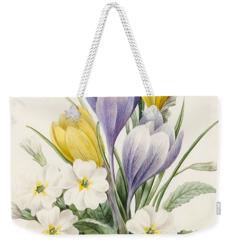 White Primroses And Early Hybrid Crocuses Weekender Tote Bag featuring the painting White Primroses And Early Hybrid Crocuses by Louise D'Orleans