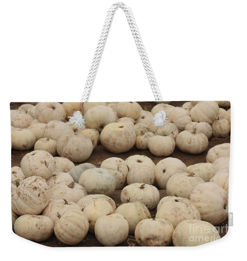 White Pumpkins Weekender Tote Bag featuring the photograph White Pumpkins by Carol Groenen