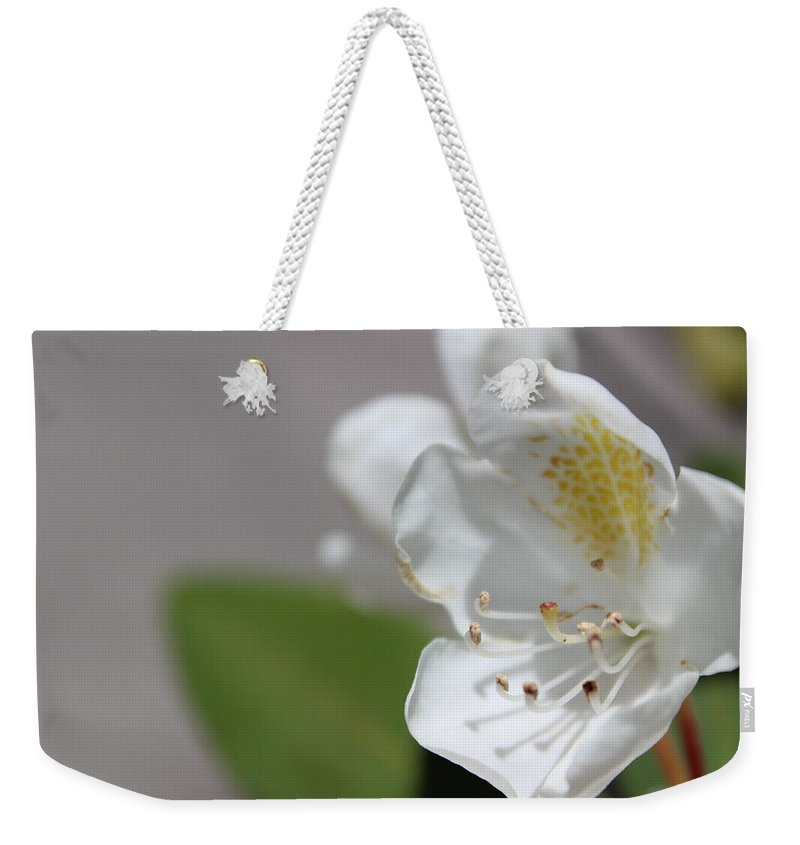 Flower Weekender Tote Bag featuring the photograph White Reaching Out 2 by Alexis Ketner