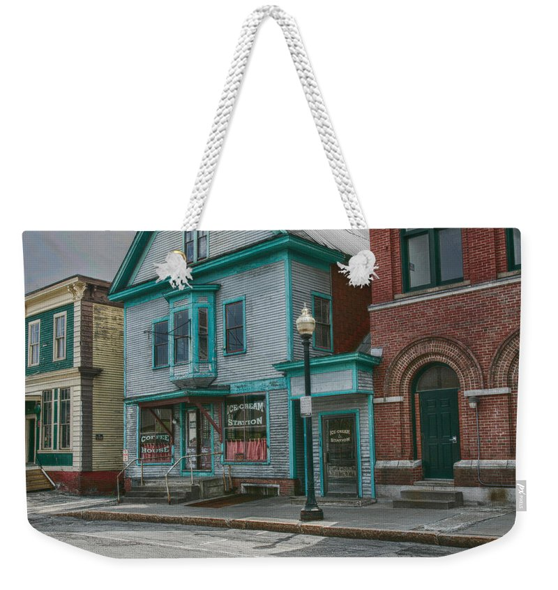 #jefffolger Weekender Tote Bag featuring the photograph White River Junction Street by Jeff Folger