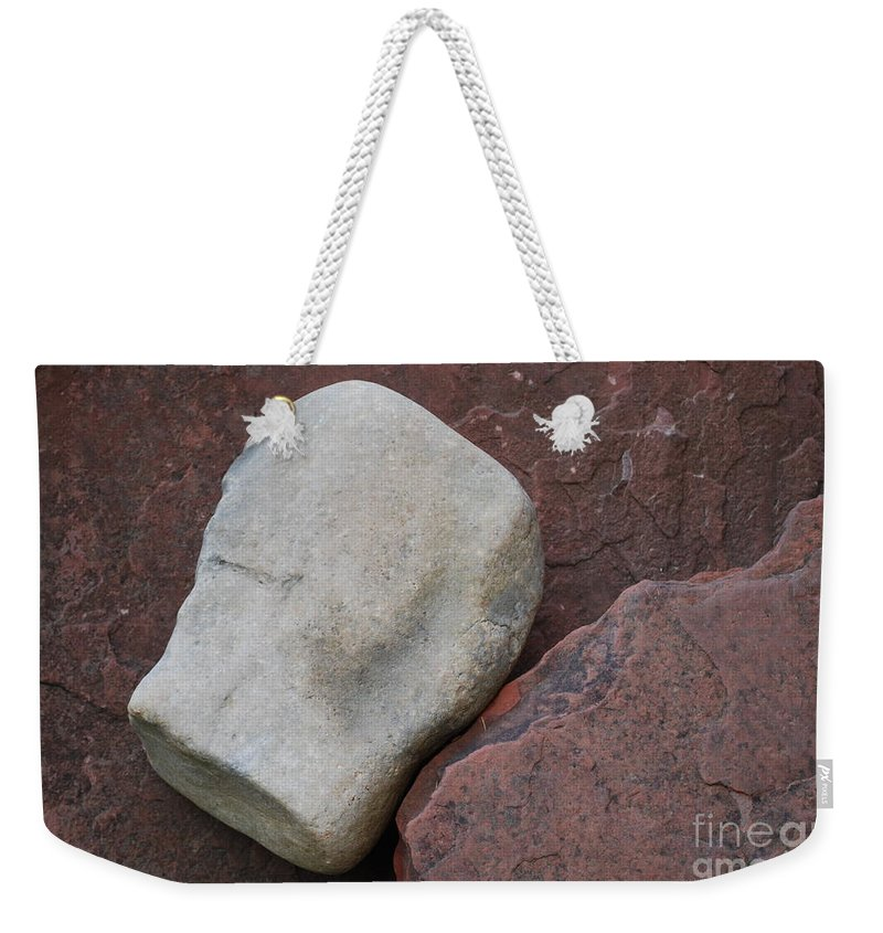 Color Weekender Tote Bag featuring the photograph White Rock On Red Rock Number 1 by Heather Kirk