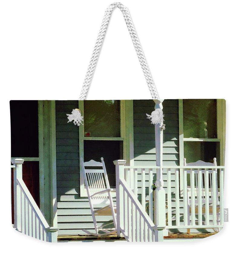 Porch Weekender Tote Bag featuring the photograph White Rocking Chairs by Susan Savad