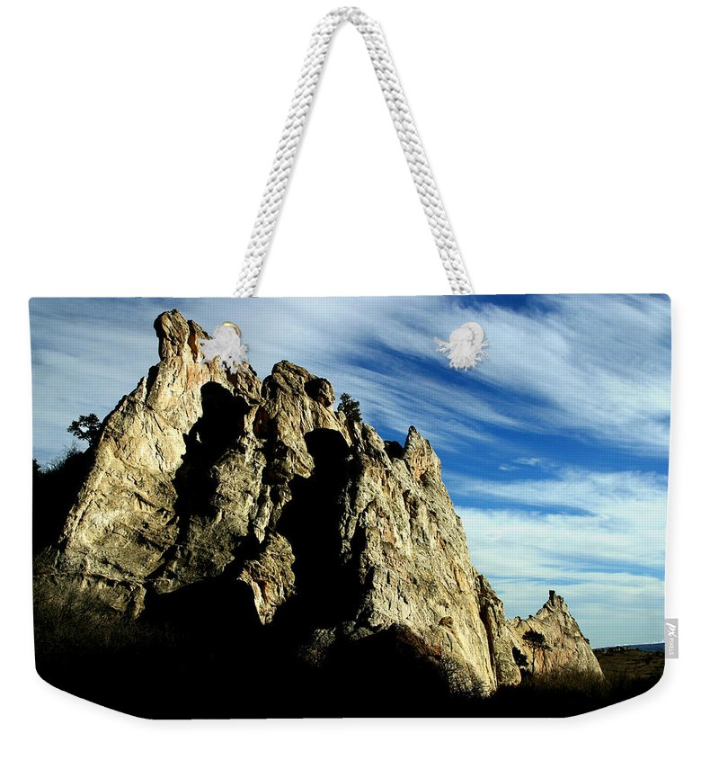 Garden Of The Gods Weekender Tote Bag featuring the photograph White Rocks by Anthony Jones