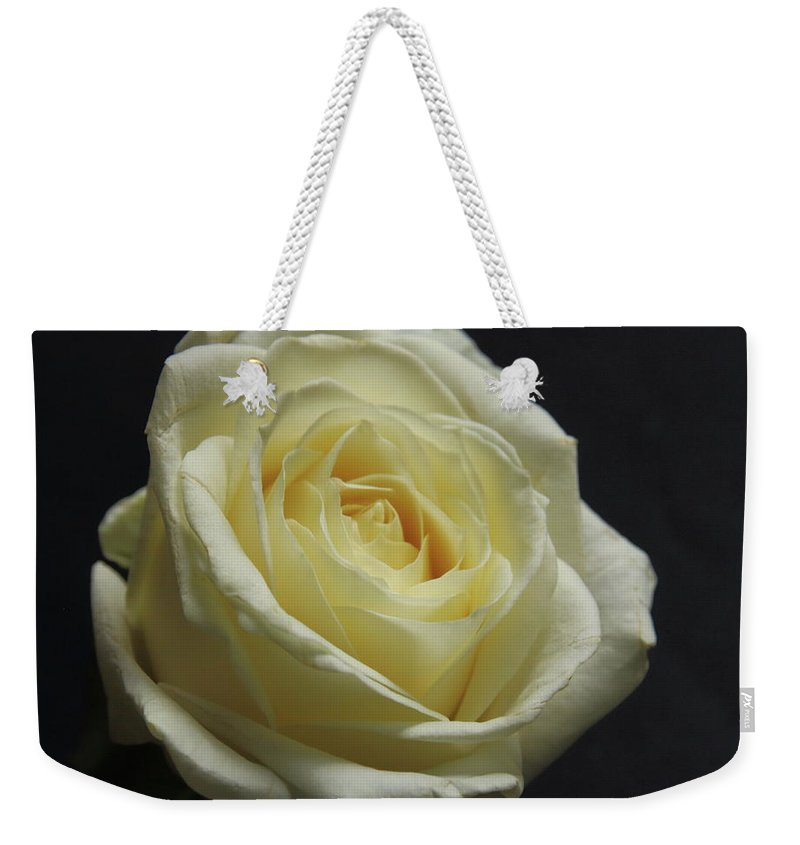 Flower Weekender Tote Bag featuring the photograph White Rose by Jeff Townsend
