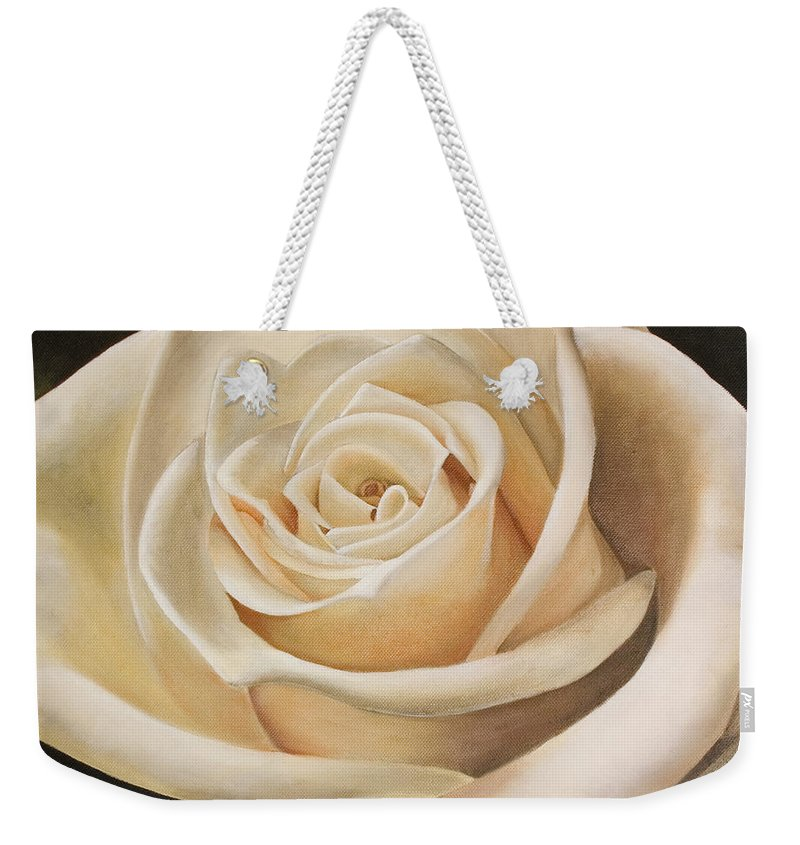 Flower Weekender Tote Bag featuring the painting White Rose by Rob De Vries