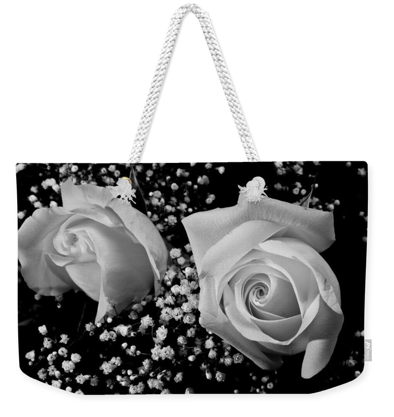 Flowers Weekender Tote Bag featuring the photograph White Roses Bw Fine Art Photography Print by James BO Insogna